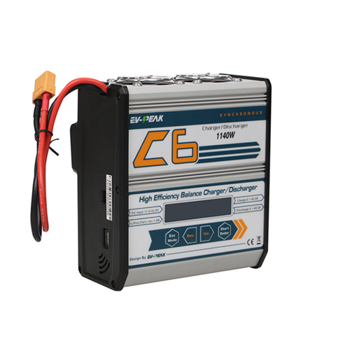EV-PEAK C6-XR 1140W 45A High Power LiPo Battery Balance Charger with XT90 Charging Cable